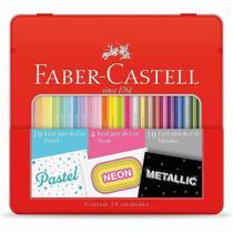 Ecolápis de Cor 24 Cores Pastel Neon Metálico Faber-Castell -
