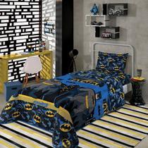 Edredom Infantil Dupla Face Solteiro Lepper Batman Azul -