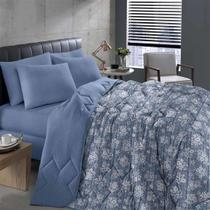 Edredom Queen Basic Estampado Gabriele Azul 1pc - Bouton