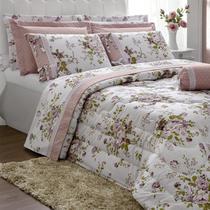 e672fd8bdb Edredom Queen Casaborda Passione Floral Percal 200 Fios 6 Pçs Rosê -