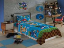 Edredom Solteiro Infantil Sonic Menino Dupla Face Azul Lepper -
