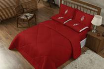 Edredon Confort Casal Queen + Jogo De Lençol 06 Peças Bordado Casa Completa Vermelho - Oliveira
