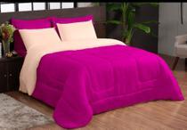 Edredon Dupla face 06 peças na cor avelã com pink casal queen - Nosso Lar Enxovais