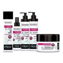 Eico Kit Liso Mágico Shampoo + Condicionador + Máscara + Spray + Selagem -