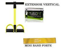 Elástico De Tensão Com Apoio Para Os Pés + Mini Band Forte - Mb Fit