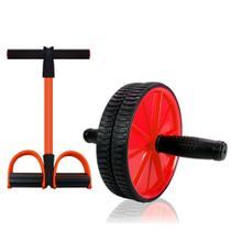 Elástico de Tensão para Exercícios Tube Fit + Roda de Exercícios Abdominal - MBfit -