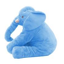 Elefante de Pelúcia 60cm Soft Antialérgico Almofada Travesseiro Grande Azul - Anjo Ninho