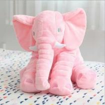 Elefante de Pelúcia 60cm Soft Antialérgico Rosa Almofada Travesseiro Grande - Anjo Ninho