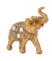 Elefante Dourado Trompa Levantada 10cm - Resina Animais - Taimes