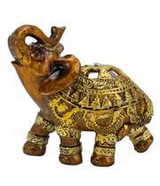 Elefante Marrom Trompa Levantada Esquerda 9cm - Resina Animais - Taimes