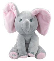 Elefante Pelucia Musical Mexe Orelhas - Cinza BBR -
