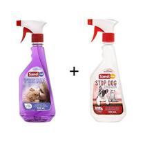 Eliminador de Odores para Gatos Sanol Cat + Repelente Sanitário Stop Dog Sanol -