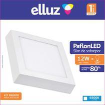 Elluz plafon led sobrepor quadrado 12w 6500k 840lm branco -