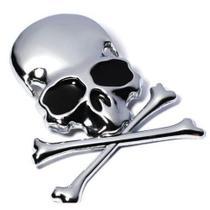 Emblema Adesivo Da Caveira Pirata 3d Metal Carro Moto - Wv