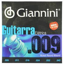 Encordoamento Aço Inox para Guitarra Elétrica .009-.042 - Giannini -