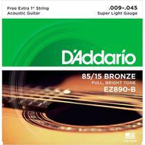 """Encordoamento D'addario EZ890B Bronze 009/045 P/ Violão Aço - D""""Addario"""