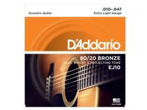 Encordoamento Daddario Violão 010 Aço Bronze EJ10 - original -