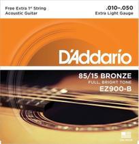 """Encordoamento de ACO para Violao EZ900-B 6 Cordas EXTRA LIGHT .010-.050 - Corda MI EXTRA - D""""Addario - D'Addario"""