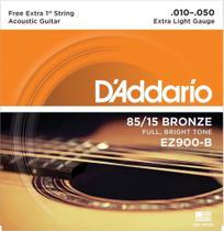 """Encordoamento de ACO para Violao EZ900-B 6 Cordas EXTRA LIGHT .010-.050 - Corda MI EXTRA - D""""Addario - Daddario"""