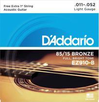 """Encordoamento de ACO para Violao EZ910-B 6 Cordas LIGHT .011-.052 - Corda MI EXTRA - D""""Addario - D'Addario"""