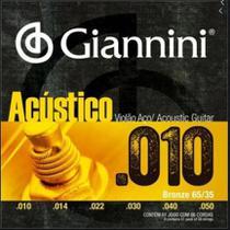 Encordoamento De Aço Para Violão Giannini Bronze 0.10 Geswam -