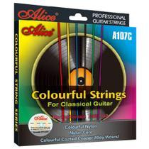 Encordoamento de Violão Nylon Colorido Alice A107C cordas de nylon coloridas -
