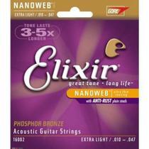 Encordoamento Elixir 010 Phosphor Bronze violão 16002 -