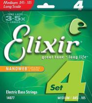 Encordoamento Elixir Baixo 4 Cordas 14077 Medium .045 -.105 -