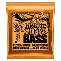 Encordoamento ernie bal 045-105 p/baixo 4 cordas hybrid slinky niquel p02833 - ERNIE BALL