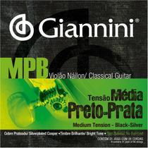 Encordoamento Giannini MPB Sem Bolinha Preto Prata GENWBS + Kit de Acessórios IZ6 -