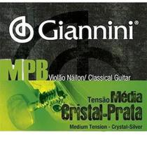 Encordoamento Giannini MPB Violão Nylon Cristal-Prata - Tensão Média GENWS -