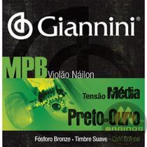 Encordoamento GIANNINI Violão Náilon MPB Médio Preto Ouro GENWBG Bolinha -