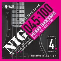 "Encordoamento NIG 4 Cordas para Baixo N-740 - .045""/.100"" -"