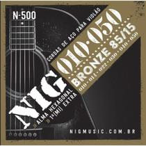 Encordoamento NIG Cordas 010 de Violão Aço Bronze 80/15 N500 -