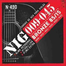 Encordoamento nig n490 p/violao aço/bronze .009/.045 6-cordas -