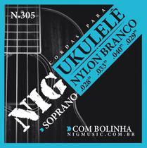 Encordoamento p/ ukulele nylon branco c/ bolinha n-305 - Nig