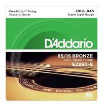 Encordoamento p/ violão Aço .009 -- Daddario -- EZ-890 -- 1a. Corda Extra - Daddário