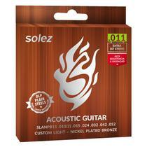 Encordoamento p/ violão -- Aço -- Tensão Pesada -- 011 -- SOLEZ -- SLANPB11 -- 1 corda extra -