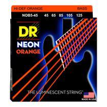 Encordoamento para baixo dr nob5-45 neon orange 5 cordas -