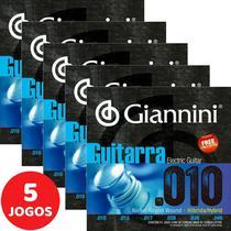 Encordoamento Para Guitarra 010 049 Híbrido Giannini GEEGSTH10 - Kit Com 5 Unidades -