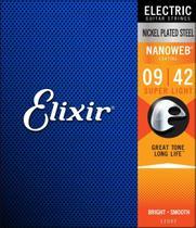 Encordoamento para Guitarra Elixir 009-042 Nanoweb Jogo de Cordas de Aço -