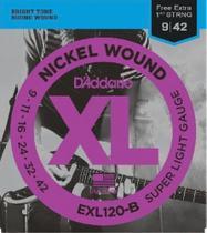 Encordoamento para Guitarra - EXL120 6 Cordas Super LIGHT .009-.042 - Corda MI EXTRA - D'Addario -