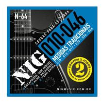 Encordoamento Para Guitarra Nig N64 Com Dois Jogos 0.10 -