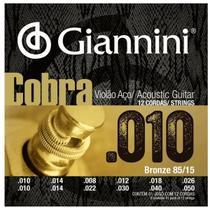 Encordoamento Para Violao 12 Cordas Aço Cobra Bronze 010 - Giannini