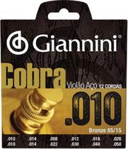 Encordoamento para violao 12 cordas aco cobra bronze - geef12m - Giannini
