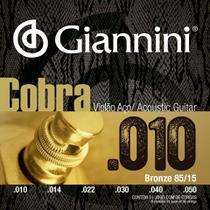Encordoamento para violão aço com bolinha, série cobra, revestimento bronze 85/15 0.010-0.050 - geefle - giannini -