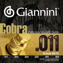 Encordoamento para violão aço com bolinha, série cobra, revestimento bronze 85/15 0.011-0.052 - geeflk - giannini -