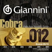 Encordoamento para violão aço com bolinha, série cobra, revestimento bronze 85/15 0.012-0.054 - geeflks - giannini -