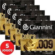 Encordoamento Para Violão Aço (Folk) 09 045 Giannini Cobra Fósforo Bronze GEEWAKF - Kit Com 5 Unidades -