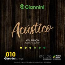 Encordoamento Para Violão Aço Giannini 010 GESWAM Bronze 65/35 -